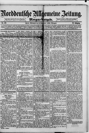 Norddeutsche allgemeine Zeitung vom 03.09.1884