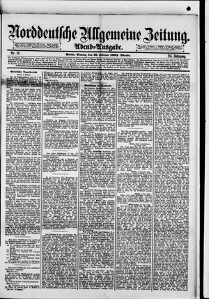 Norddeutsche allgemeine Zeitung vom 16.02.1885
