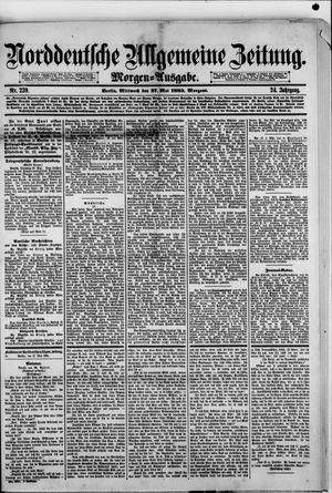 Norddeutsche allgemeine Zeitung vom 27.05.1885