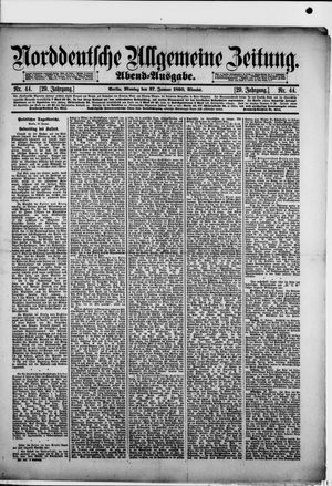 Norddeutsche allgemeine Zeitung vom 27.01.1890