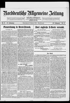 Norddeutsche allgemeine Zeitung vom 31.01.1918