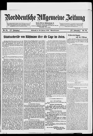 Norddeutsche allgemeine Zeitung vom 20.02.1918