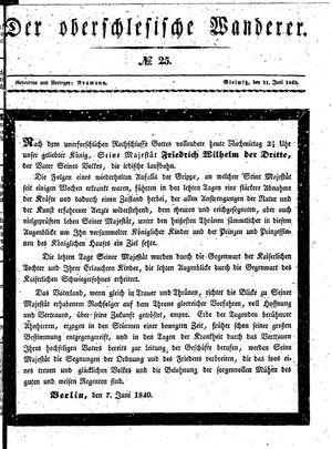 ˜Derœ Oberschlesische Wanderer vom 11.06.1840