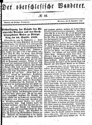 ˜Derœ Oberschlesische Wanderer vom 22.09.1840
