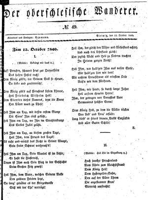 ˜Derœ Oberschlesische Wanderer vom 15.10.1840