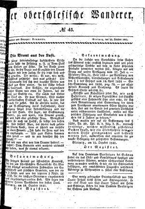 ˜Derœ Oberschlesische Wanderer vom 25.10.1841