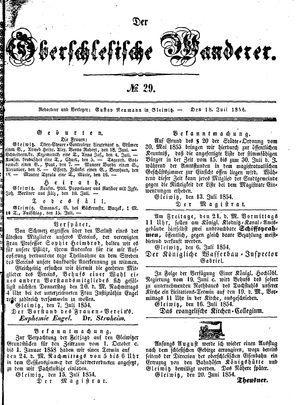 ˜Derœ Oberschlesische Wanderer vom 18.07.1854