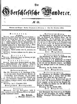 ˜Derœ Oberschlesische Wanderer vom 31.10.1854