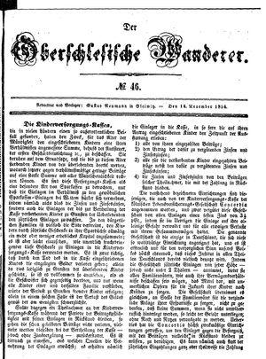 ˜Derœ Oberschlesische Wanderer vom 14.11.1854