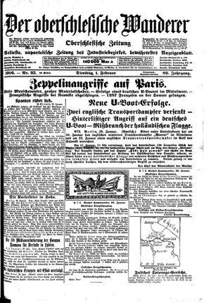˜Derœ Oberschlesische Wanderer vom 01.02.1916