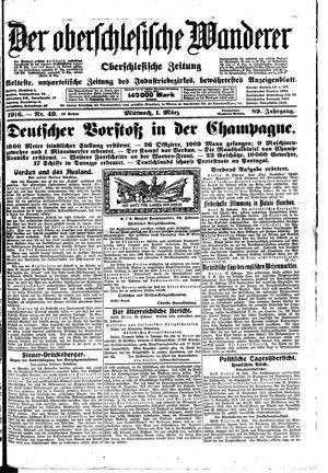 ˜Derœ Oberschlesische Wanderer vom 01.03.1916