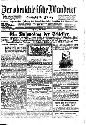 ˜Derœ Oberschlesische Wanderer vom 17.03.1916