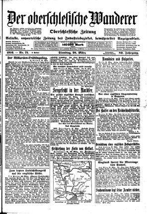 ˜Derœ Oberschlesische Wanderer vom 28.03.1916