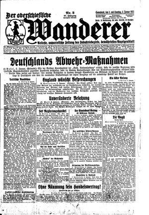 ˜Derœ Oberschlesische Wanderer vom 03.01.1925