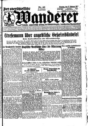 ˜Derœ Oberschlesische Wanderer vom 17.02.1925