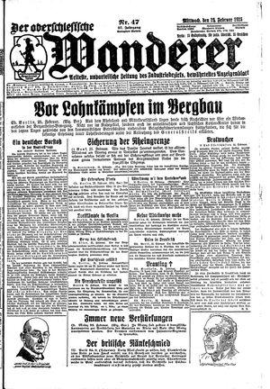 ˜Derœ Oberschlesische Wanderer vom 25.02.1925