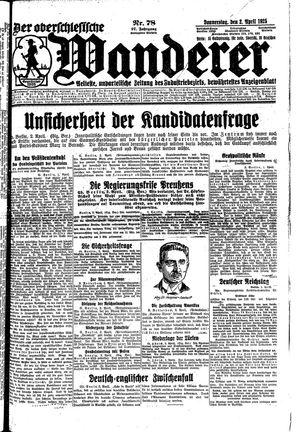 ˜Derœ Oberschlesische Wanderer vom 02.04.1925