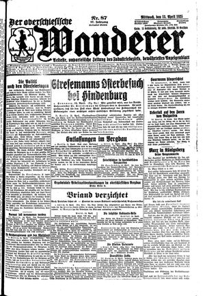 ˜Derœ Oberschlesische Wanderer vom 15.04.1925