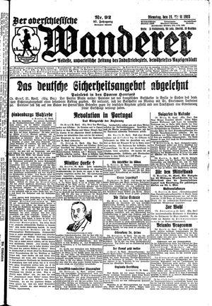 ˜Derœ Oberschlesische Wanderer vom 21.04.1925