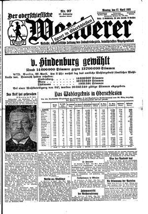 ˜Derœ Oberschlesische Wanderer vom 27.04.1925