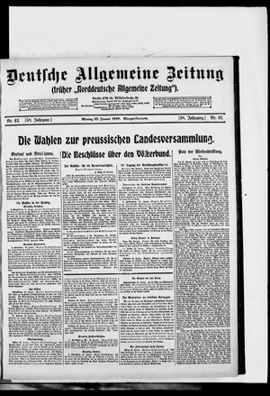 Deutsche allgemeine Zeitung vom 27.01.1919
