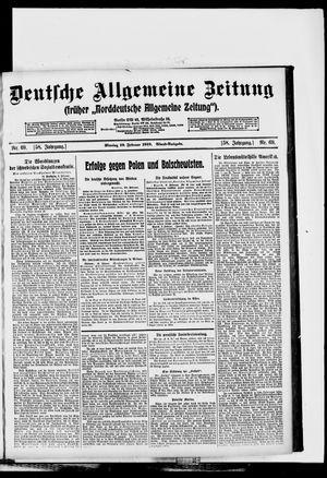 Deutsche allgemeine Zeitung vom 10.02.1919