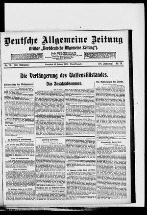 Deutsche allgemeine Zeitung vom 15.02.1919