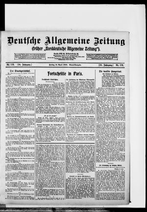 Deutsche allgemeine Zeitung on Apr 11, 1919