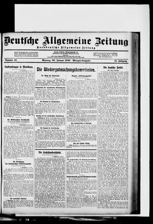 Deutsche allgemeine Zeitung vom 26.01.1920