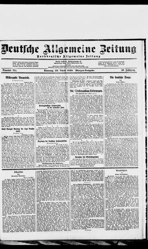 Deutsche allgemeine Zeitung vom 25.04.1920