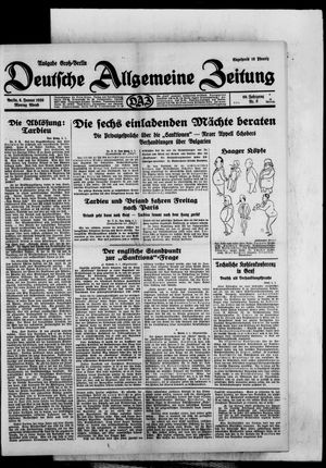 Deutsche allgemeine Zeitung vom 06.01.1930