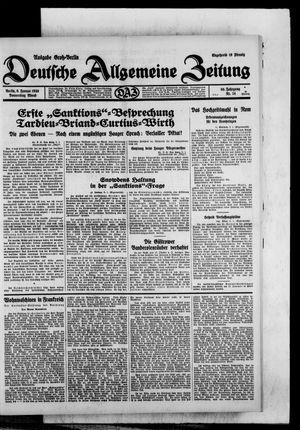 Deutsche allgemeine Zeitung vom 09.01.1930