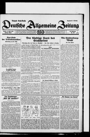 Deutsche allgemeine Zeitung vom 25.04.1930