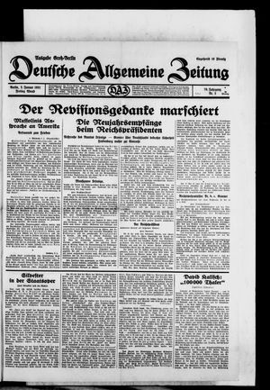 Deutsche allgemeine Zeitung on Jan 2, 1931