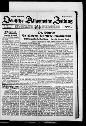 Deutsche allgemeine Zeitung on Jan 6, 1931