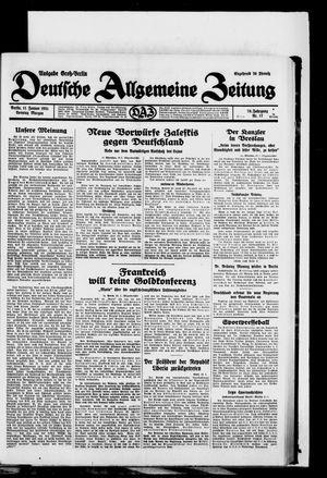 Deutsche allgemeine Zeitung vom 11.01.1931