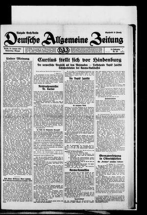 Deutsche allgemeine Zeitung vom 22.01.1931