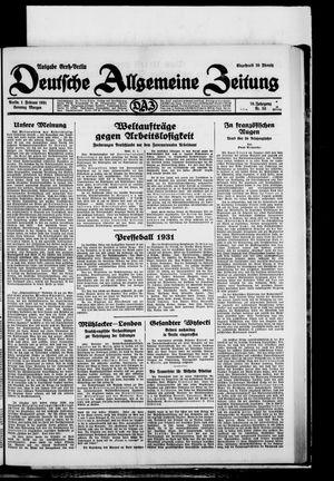 Deutsche allgemeine Zeitung vom 01.02.1931