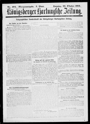 Königsberger Hartungsche Zeitung vom 20.10.1912