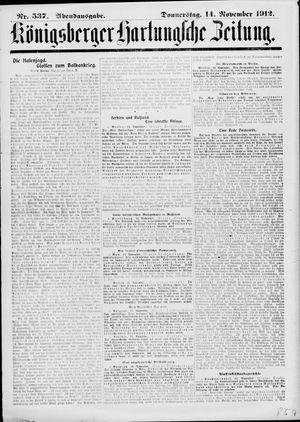 Königsberger Hartungsche Zeitung vom 14.11.1912
