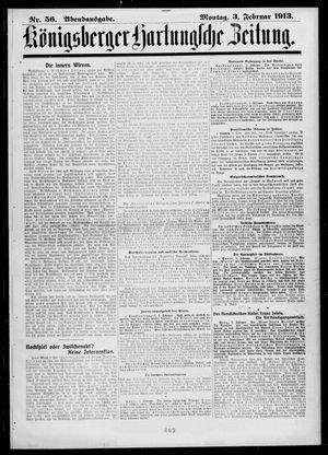 Königsberger Hartungsche Zeitung vom 03.02.1913