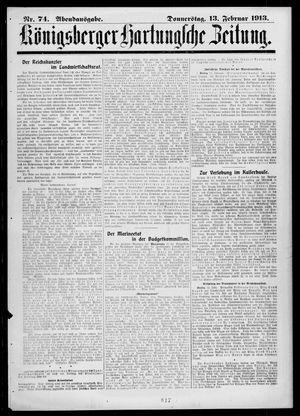 Königsberger Hartungsche Zeitung vom 13.02.1913