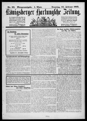 Königsberger Hartungsche Zeitung vom 25.02.1913