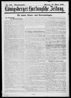 Königsberger Hartungsche Zeitung vom 31.03.1913