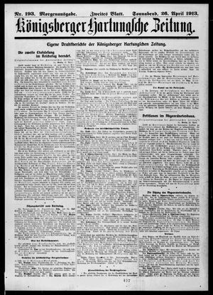 Königsberger Hartungsche Zeitung vom 26.04.1913