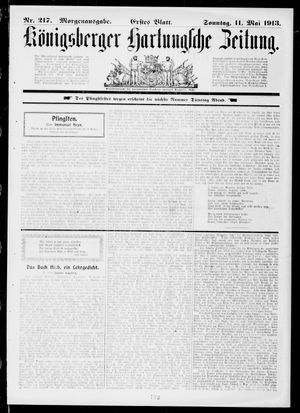 Königsberger Hartungsche Zeitung vom 11.05.1913