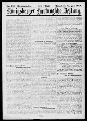 Königsberger Hartungsche Zeitung on Jun 21, 1913