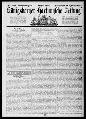 Königsberger Hartungsche Zeitung vom 18.10.1913