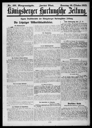 Königsberger Hartungsche Zeitung vom 19.10.1913