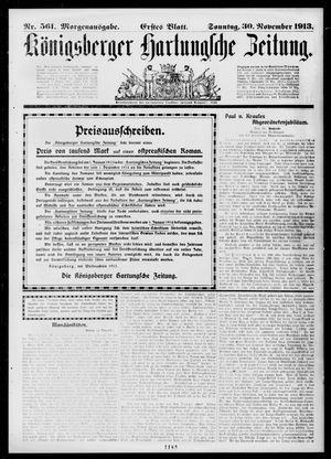 Königsberger Hartungsche Zeitung vom 30.11.1913
